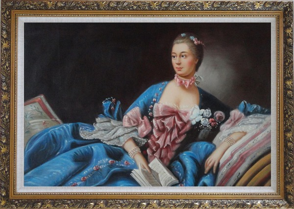 Framed Lady In Gorgeous Costumes Reclining On Bed With Book Oil Painting Portraits Woman Classic Ornate Antique Dark Gold Wood Frame 30 x 42 Inches