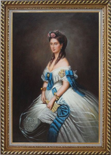 Framed Elegant Lady In White Dress With Blue Lace Oil Painting Portraits Woman Classic Exquisite Gold Wood Frame 42 x 30 Inches