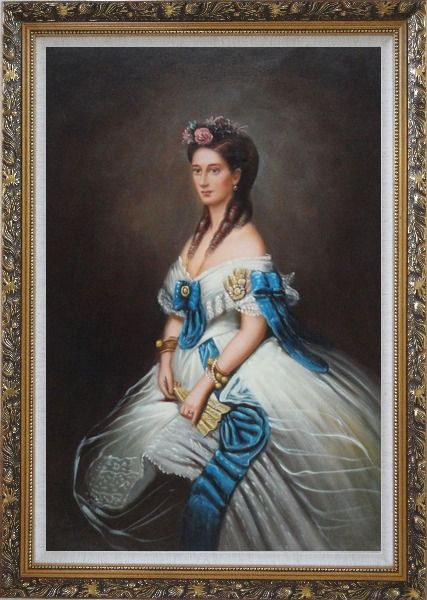 Framed Elegant Lady In White Dress With Blue Lace Oil Painting Portraits Woman Classic Ornate Antique Dark Gold Wood Frame 42 x 30 Inches