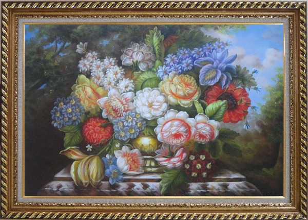 Framed Roses, Peonies and Other Flowers in a Bronze Vase on a Outdoor Stone Plinth Oil Painting Still Life Bouquet Classic Exquisite Gold Wood Frame 30 x 42 Inches