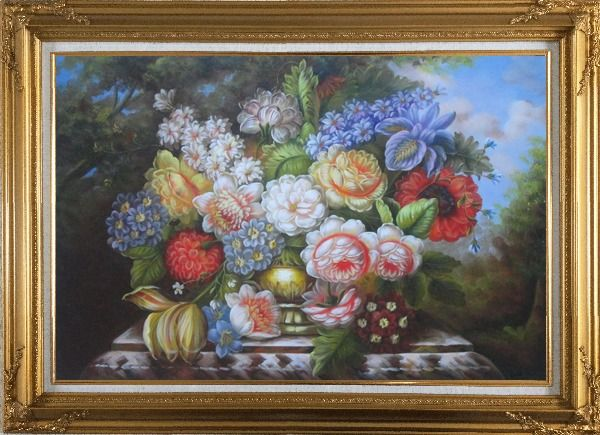 Framed Roses, Peonies and Other Flowers in a Bronze Vase on a Outdoor Stone Plinth Oil Painting Still Life Bouquet Classic Gold Wood Frame with Deco Corners 31 x 43 Inches