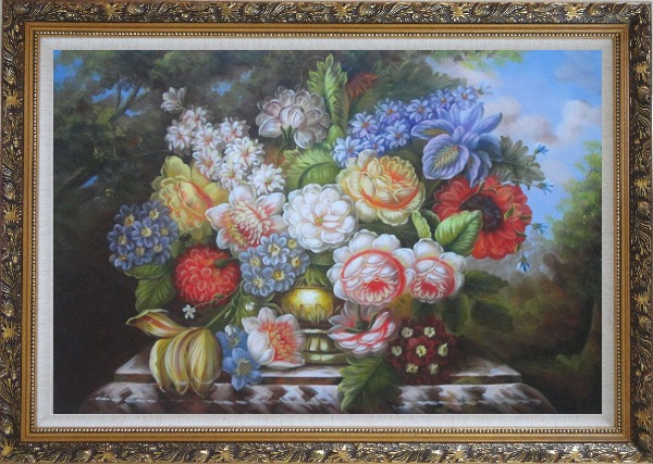 Framed Roses, Peonies and Other Flowers in a Bronze Vase on a Outdoor Stone Plinth Oil Painting Still Life Bouquet Classic Ornate Antique Dark Gold Wood Frame 30 x 42 Inches