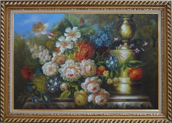 Framed Flower Banquet and Decorative Jar On Stone Plinth Outdoor Oil Painting Still Life Bouquet Classic Exquisite Gold Wood Frame 30 x 42 Inches