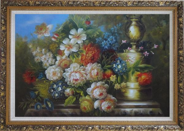 Framed Flower Banquet and Decorative Jar On Stone Plinth Outdoor Oil Painting Still Life Bouquet Classic Ornate Antique Dark Gold Wood Frame 30 x 42 Inches