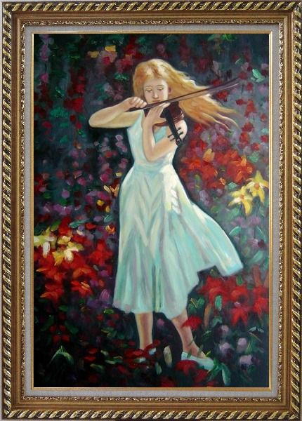 Framed Violin Girl with Flower Field Oil Painting Portraits Woman Musician Impressionism Exquisite Gold Wood Frame 42 x 30 Inches