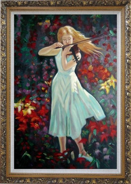 Framed Violin Girl with Flower Field Oil Painting Portraits Woman Musician Impressionism Ornate Antique Dark Gold Wood Frame 42 x 30 Inches