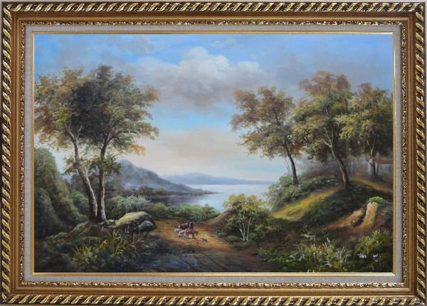 Framed Beautiful Lakeside Landscape Oil Painting River Classic Exquisite Gold Wood Frame 30 x 42 Inches