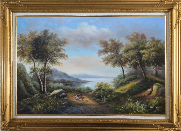 Framed Beautiful Lakeside Landscape Oil Painting River Classic Gold Wood Frame with Deco Corners 31 x 43 Inches