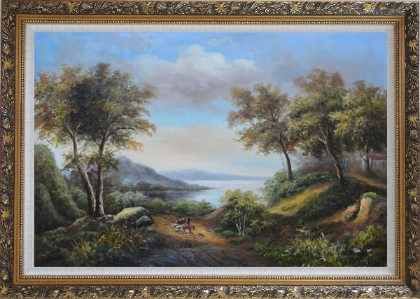 Framed Beautiful Lakeside Landscape Oil Painting River Classic Ornate Antique Dark Gold Wood Frame 30 x 42 Inches