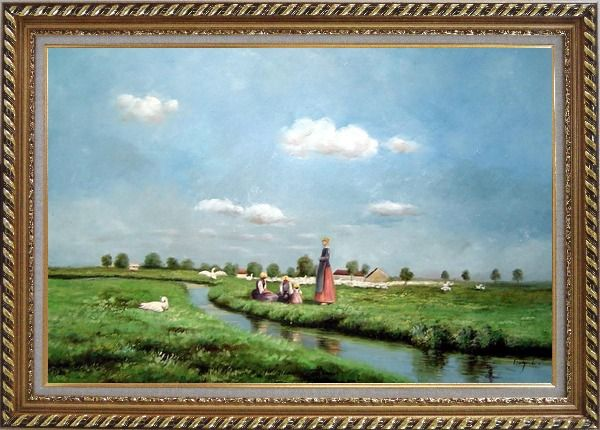 Framed A Creek Passing Meadow Oil Painting Landscape River Classic Exquisite Gold Wood Frame 30 x 42 Inches