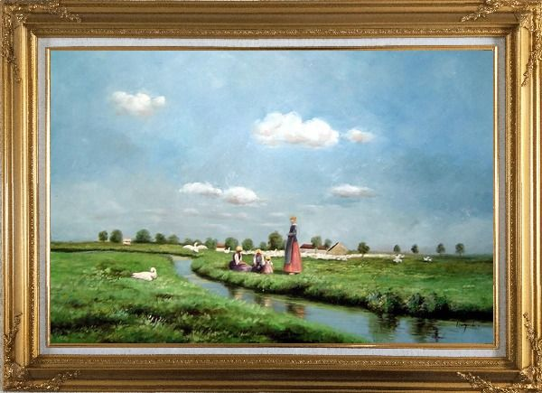 Framed A Creek Passing Meadow Oil Painting Landscape River Classic Gold Wood Frame with Deco Corners 31 x 43 Inches