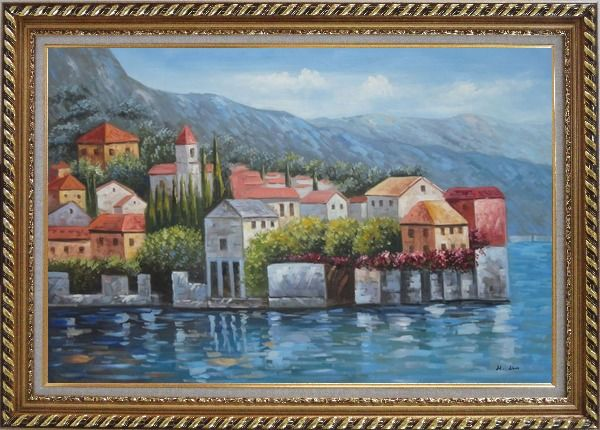 Framed Mediterranean Coast Harbor Village of Italy Oil Painting Naturalism Exquisite Gold Wood Frame 30 x 42 Inches