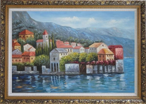 Framed Mediterranean Coast Harbor Village of Italy Oil Painting Naturalism Ornate Antique Dark Gold Wood Frame 30 x 42 Inches