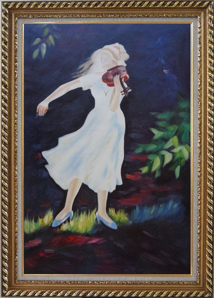 Framed Girl Plays Violin in the Garden Oil Painting Portraits Woman Musician Impressionism Exquisite Gold Wood Frame 42 x 30 Inches
