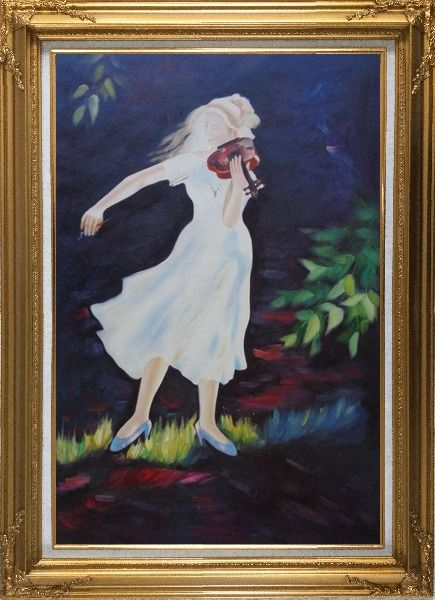 Framed Girl Plays Violin in the Garden Oil Painting Portraits Woman Musician Impressionism Gold Wood Frame with Deco Corners 43 x 31 Inches