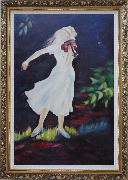 Framed Girl Plays Violin in the Garden Oil Painting Portraits Woman Musician Impressionism Ornate Antique Dark Gold Wood Frame 42 x 30 Inches