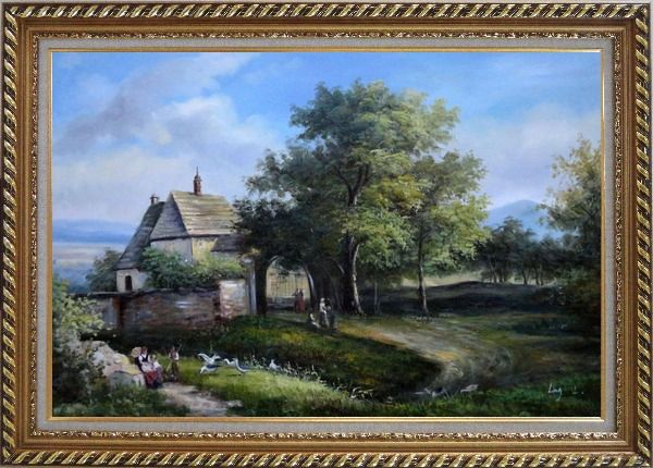 Framed Rural Village Scenery Oil Painting Classic Exquisite Gold Wood Frame 30 x 42 Inches