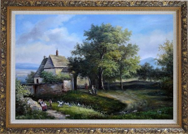 Framed Rural Village Scenery Oil Painting Classic Ornate Antique Dark Gold Wood Frame 30 x 42 Inches