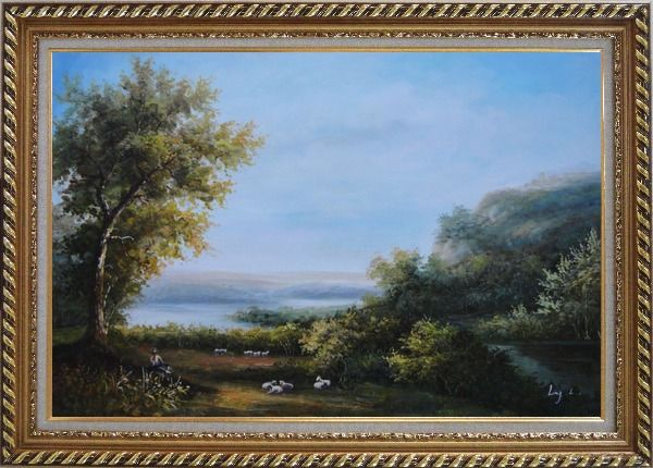 Framed Goats and Shepherd Relaxing in Green Field Oil Painting Landscape River Classic Exquisite Gold Wood Frame 30 x 42 Inches