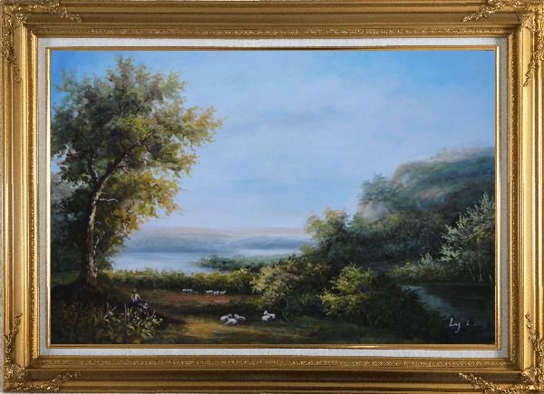 Framed Goats and Shepherd Relaxing in Green Field Oil Painting Landscape River Classic Gold Wood Frame with Deco Corners 31 x 43 Inches