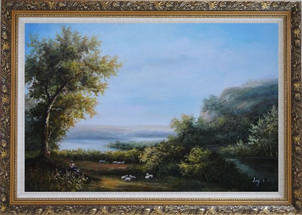 Framed Goats and Shepherd Relaxing in Green Field Oil Painting Landscape River Classic Ornate Antique Dark Gold Wood Frame 30 x 42 Inches