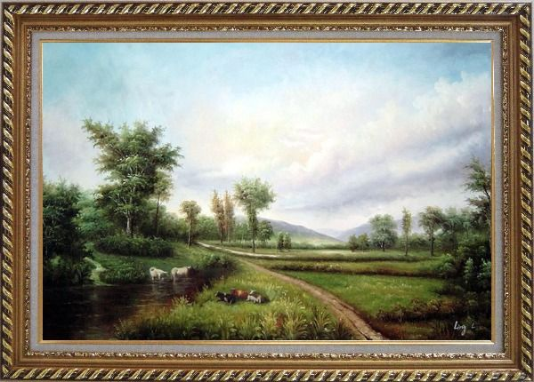 Framed Pond-side Enjoyable Cows and Bulls Oil Painting Landscape River Classic Exquisite Gold Wood Frame 30 x 42 Inches