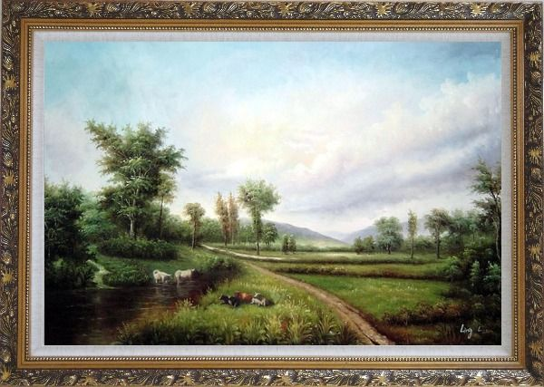 Framed Pond-side Enjoyable Cows and Bulls Oil Painting Landscape River Classic Ornate Antique Dark Gold Wood Frame 30 x 42 Inches