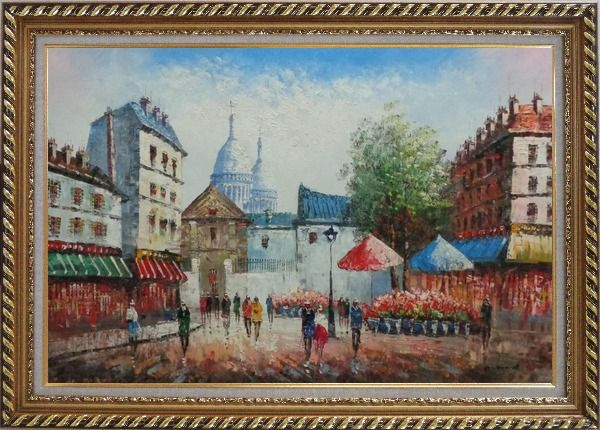 Framed Paris Street Scene in Early 19th Century Oil Painting Cityscape France Impressionism Exquisite Gold Wood Frame 30 x 42 Inches