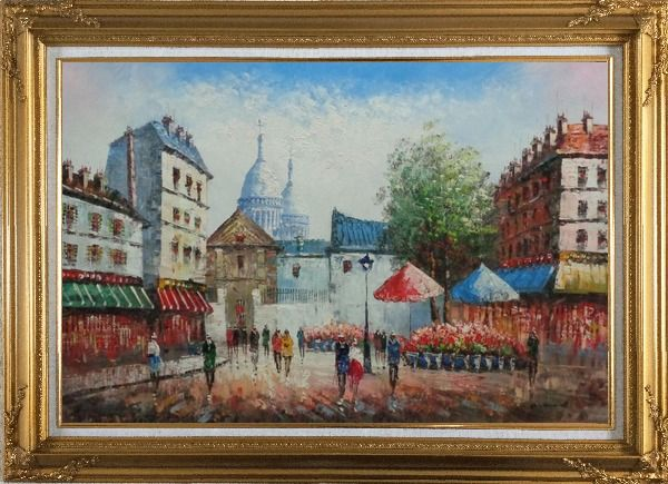 Framed Paris Street Scene in Early 19th Century Oil Painting Cityscape France Impressionism Gold Wood Frame with Deco Corners 31 x 43 Inches