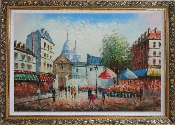 Framed Paris Street Scene in Early 19th Century Oil Painting Cityscape France Impressionism Ornate Antique Dark Gold Wood Frame 30 x 42 Inches