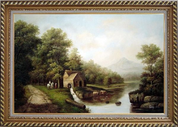 Framed Intimate Talk Oil Painting Landscape River Classic Exquisite Gold Wood Frame 30 x 42 Inches