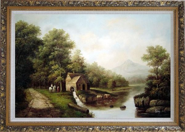 Framed Intimate Talk Oil Painting Landscape River Classic Ornate Antique Dark Gold Wood Frame 30 x 42 Inches