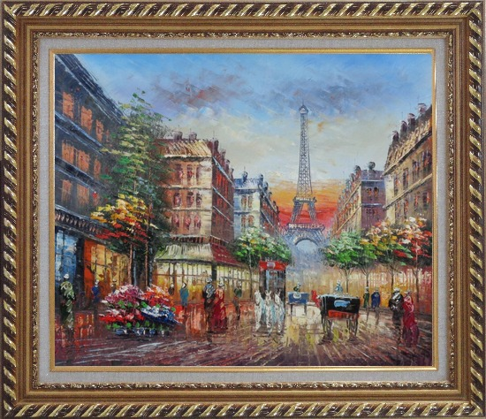 Framed A Paris Street Toward Eiffel Tower Oil Painting Cityscape France Impressionism Exquisite Gold Wood Frame 26 x 30 Inches