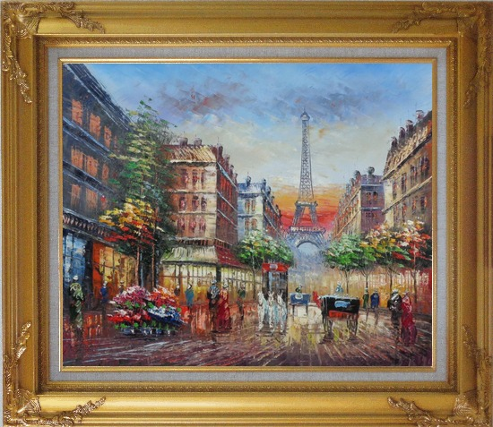 Framed A Paris Street Toward Eiffel Tower Oil Painting Cityscape France Impressionism Gold Wood Frame with Deco Corners 27 x 31 Inches