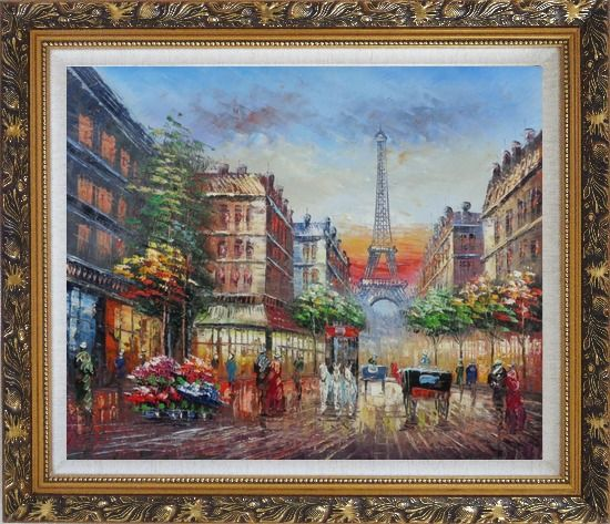 Framed A Paris Street Toward Eiffel Tower Oil Painting Cityscape France Impressionism Ornate Antique Dark Gold Wood Frame 26 x 30 Inches