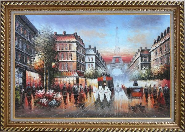 Framed A Paris Street Toward Eiffel Tower Oil Painting Cityscape France Impressionism Exquisite Gold Wood Frame 30 x 42 Inches