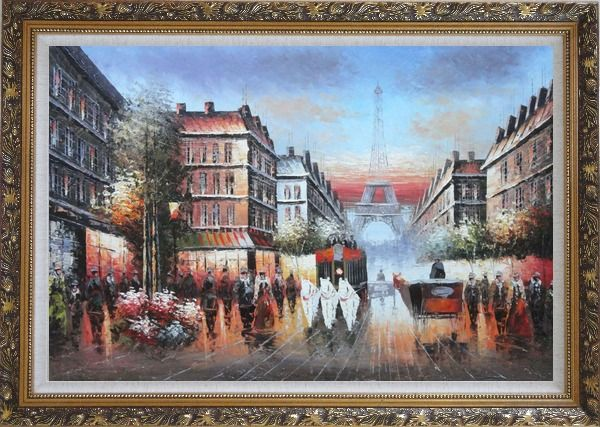 Framed A Paris Street Toward Eiffel Tower Oil Painting Cityscape France Impressionism Ornate Antique Dark Gold Wood Frame 30 x 42 Inches