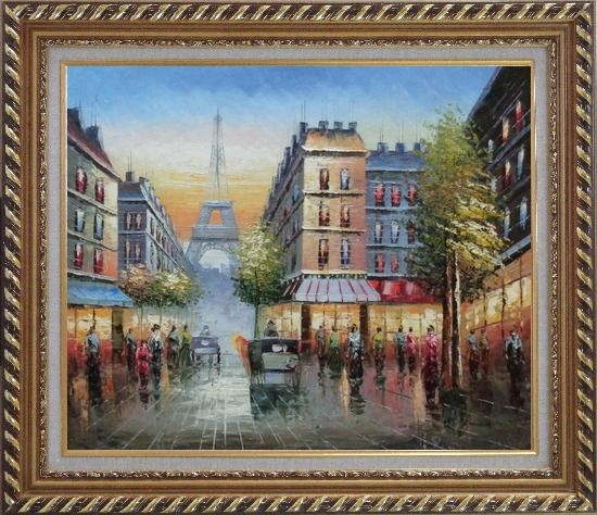 Framed Busy Street, Eiffel Tower on the Dusk Oil Painting Cityscape France Impressionism Exquisite Gold Wood Frame 26 x 30 Inches