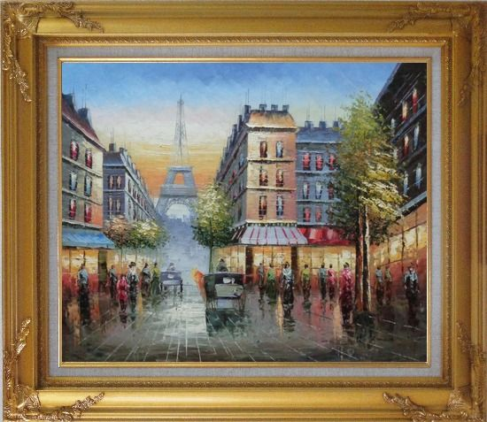 Framed Busy Street, Eiffel Tower on the Dusk Oil Painting Cityscape France Impressionism Gold Wood Frame with Deco Corners 27 x 31 Inches