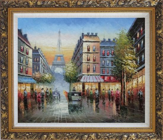 Framed Busy Street, Eiffel Tower on the Dusk Oil Painting Cityscape France Impressionism Ornate Antique Dark Gold Wood Frame 26 x 30 Inches