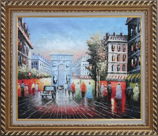 Framed Pedestrian Cross Paris Arc de Triumph Oil Painting Cityscape France Impressionism Exquisite Gold Wood Frame 26 x 30 Inches