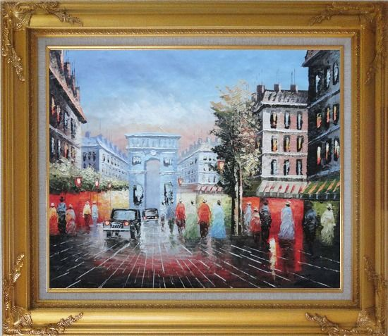 Framed Pedestrian Cross Paris Arc de Triumph Oil Painting Cityscape France Impressionism Gold Wood Frame with Deco Corners 27 x 31 Inches