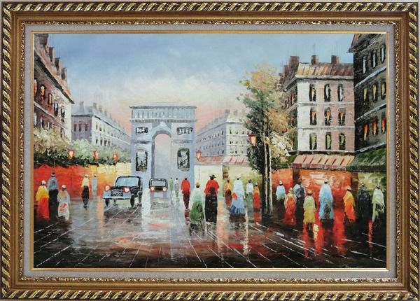 Framed Pedestrian Cross Paris Arc De Triumph Oil Painting Cityscape France Impressionism Exquisite Gold Wood Frame 30 x 42 Inches