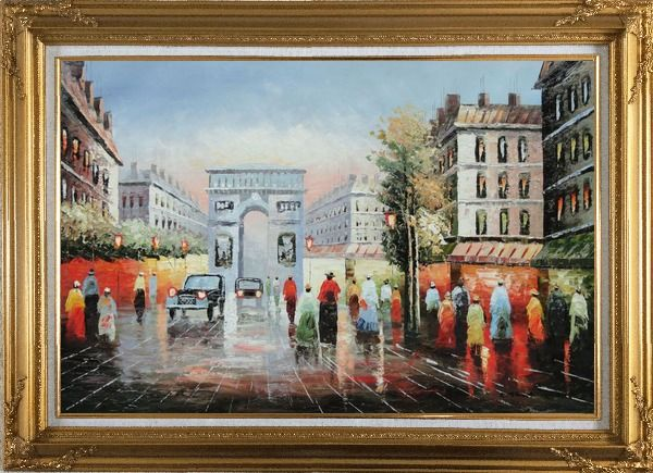 Framed Pedestrian Cross Paris Arc De Triumph Oil Painting Cityscape France Impressionism Gold Wood Frame with Deco Corners 31 x 43 Inches