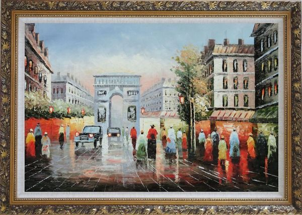 Framed Pedestrian Cross Paris Arc De Triumph Oil Painting Cityscape France Impressionism Ornate Antique Dark Gold Wood Frame 30 x 42 Inches