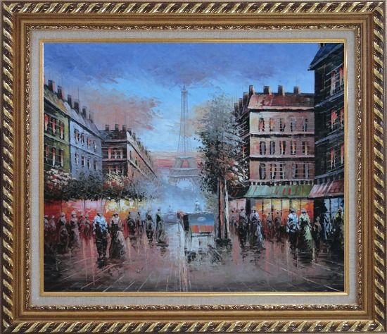 Framed Impressionist Paris Street Toward to Eiffel Tower Cityscape Oil Painting France Impressionism Exquisite Gold Wood Frame 26 x 30 Inches
