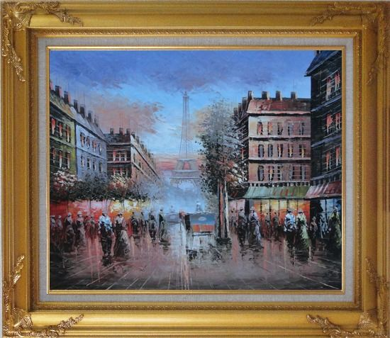 Framed Impressionist Paris Street Toward to Eiffel Tower Cityscape Oil Painting France Impressionism Gold Wood Frame with Deco Corners 27 x 31 Inches