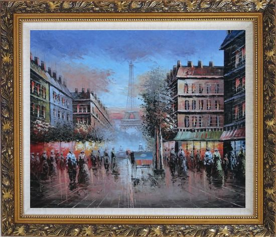 Framed Impressionist Paris Street Toward to Eiffel Tower Cityscape Oil Painting France Impressionism Ornate Antique Dark Gold Wood Frame 26 x 30 Inches