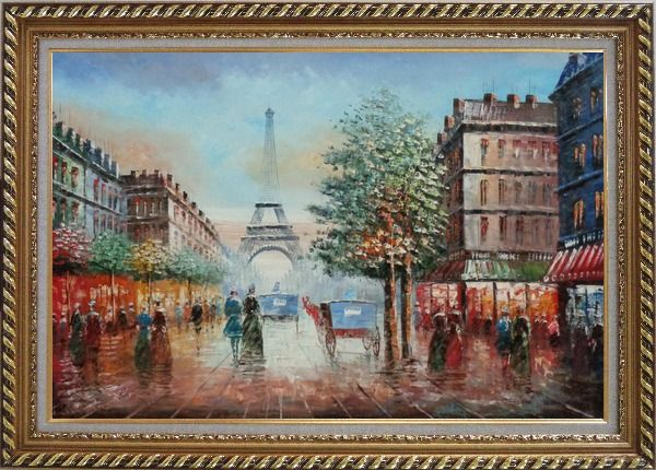 Framed Impressionist Paris Street Toward to Eiffel Tower Cityscape Oil Painting France Impressionism Exquisite Gold Wood Frame 30 x 42 Inches