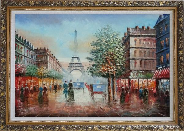 Framed Impressionist Paris Street Toward to Eiffel Tower Cityscape Oil Painting France Impressionism Ornate Antique Dark Gold Wood Frame 30 x 42 Inches
